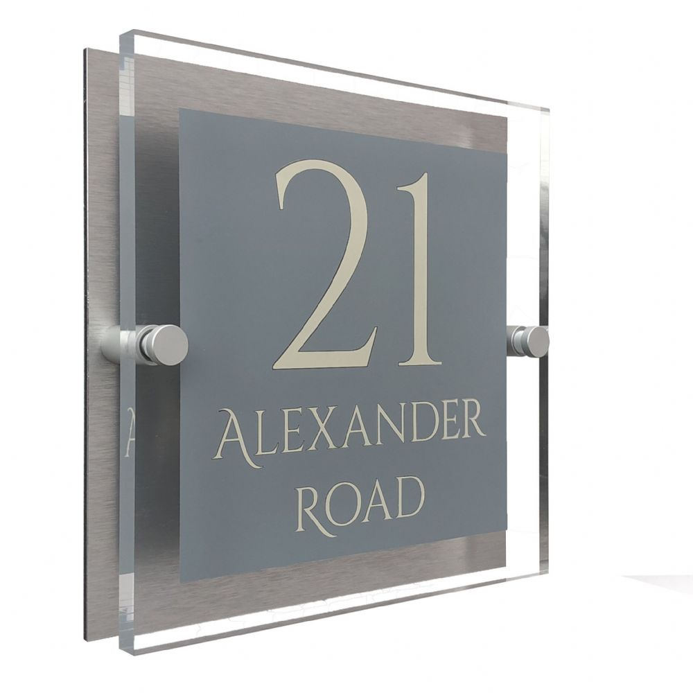 Block Shape - Clear Acrylic House Sign - Mid Grey Colour with Double Cream text in Font  1